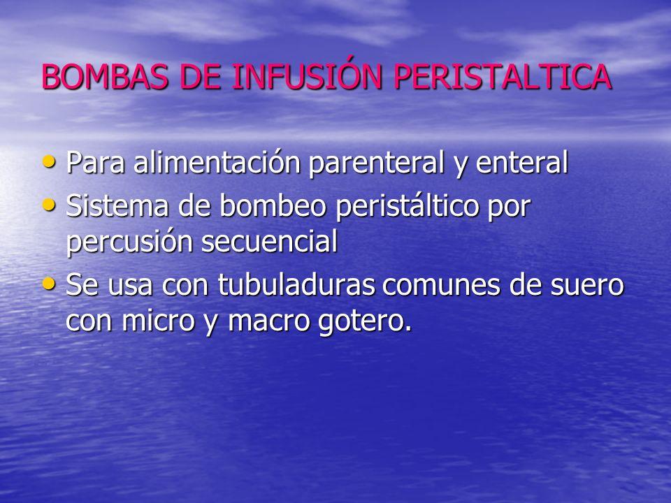 BOMBAS DE INFUSIÓN PERISTALTICA Para alimentación parenteral y enteral Para alimentación parenteral y enteral Sistema de bombeo peristáltico por percu