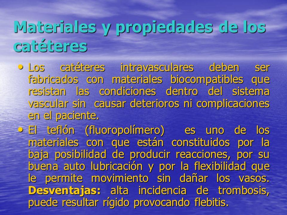Materiales y propiedades de los catéteres Materiales y propiedades de los catéteres Los catéteres intravasculares deben ser fabricados con materiales