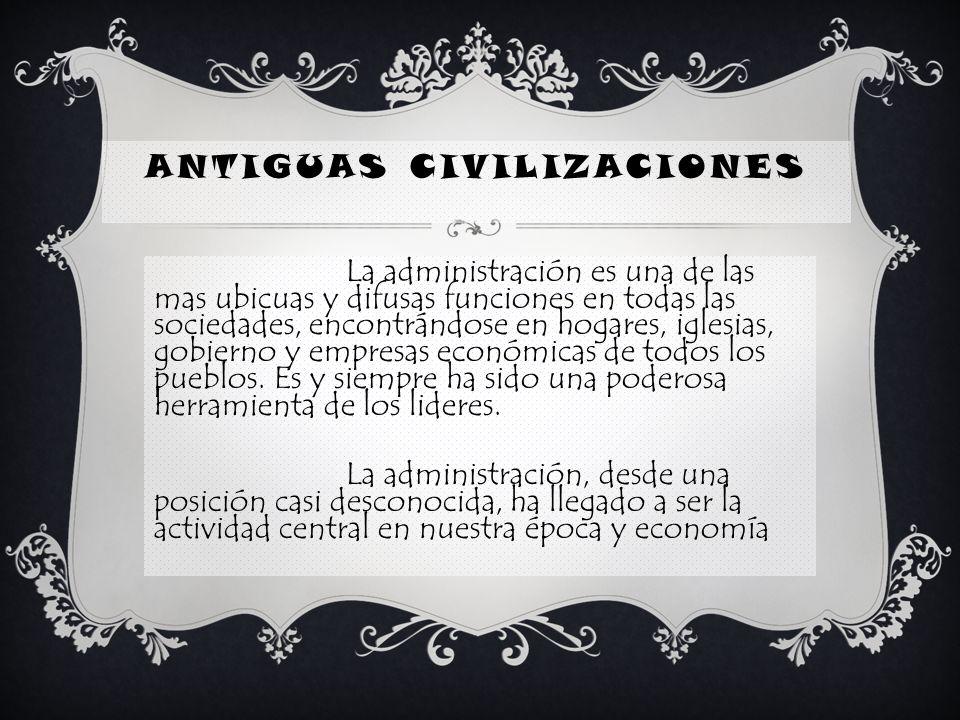 CIVILIZACIONES ANTIGUAS Surgió la necesidad de un método o sistema, para gobernar y administrar al pueblo.