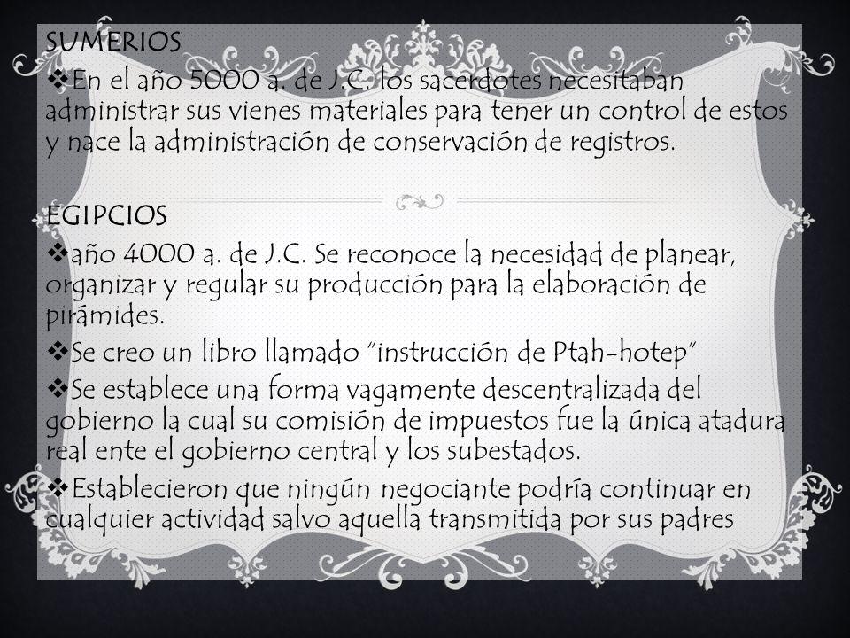 BABILONIA Sus transacciones mercantiles fueron abundantemente documentadas sobre tablillas como un medio de control en la cual se encuentra El principio de la no delegación de la responsabilidad.
