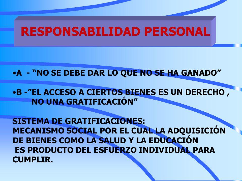 RESPONSABILIDAD PERSONAL A - NO SE DEBE DAR LO QUE NO SE HA GANADO B -EL ACCESO A CIERTOS BIENES ES UN DERECHO, NO UNA GRATIFICACIÓN SISTEMA DE GRATIF