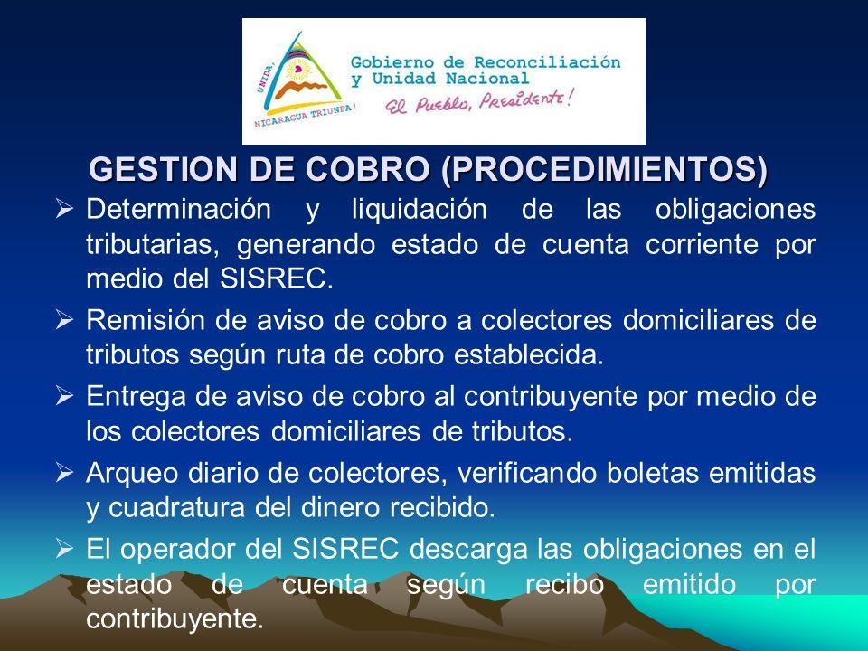 GESTION DE COBRO (PROCEDIMIENTOS) Determinación y liquidación de las obligaciones tributarias, generando estado de cuenta corriente por medio del SISR