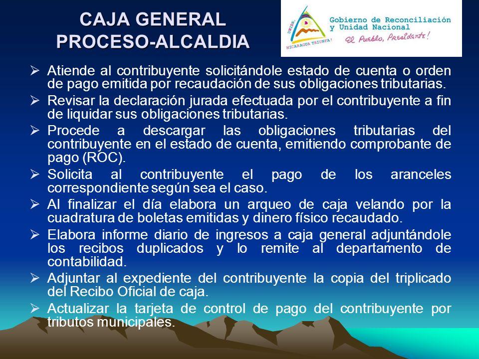 CAJA GENERAL PROCESO-ALCALDIA Atiende al contribuyente solicitándole estado de cuenta o orden de pago emitida por recaudación de sus obligaciones trib