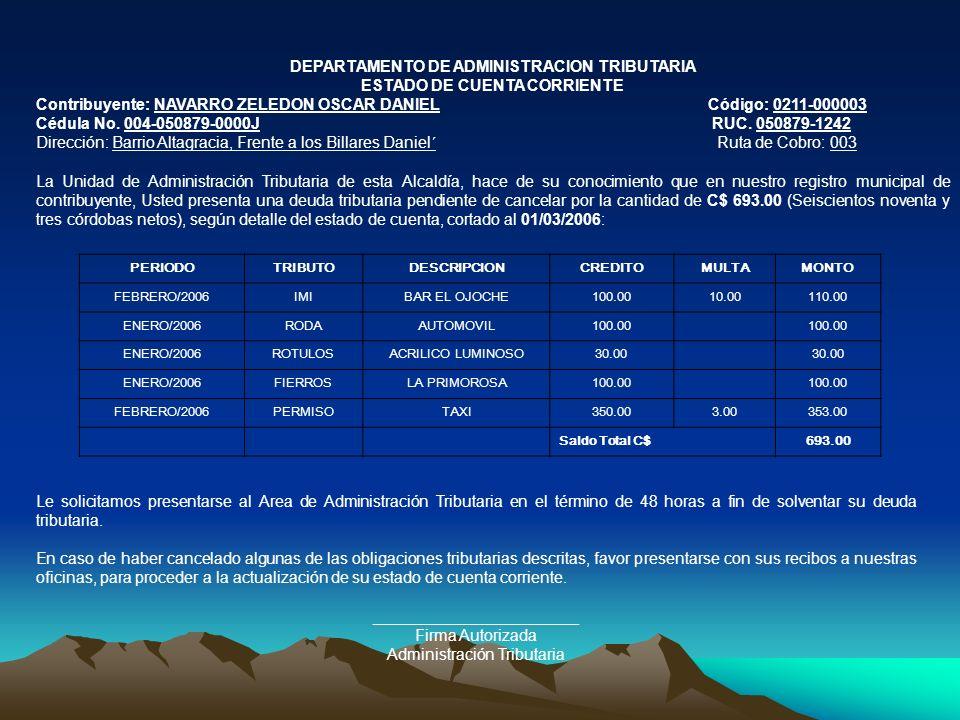 DEPARTAMENTO DE ADMINISTRACION TRIBUTARIA ESTADO DE CUENTA CORRIENTE Contribuyente: NAVARRO ZELEDON OSCAR DANIELCódigo: 0211-000003 Cédula No. 004-050