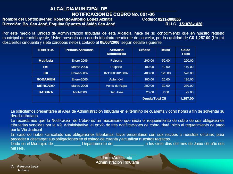 ALCALDIA MUNICIPAL DE ___________________________ NOTIFICACION DE COBRO No. 001-06 Nombre del Contribuyente: Rosendo Antonio López AzmitiaCódigo: 0211