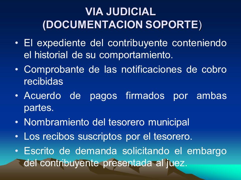 VIA JUDICIAL (DOCUMENTACION SOPORTE) El expediente del contribuyente conteniendo el historial de su comportamiento. Comprobante de las notificaciones