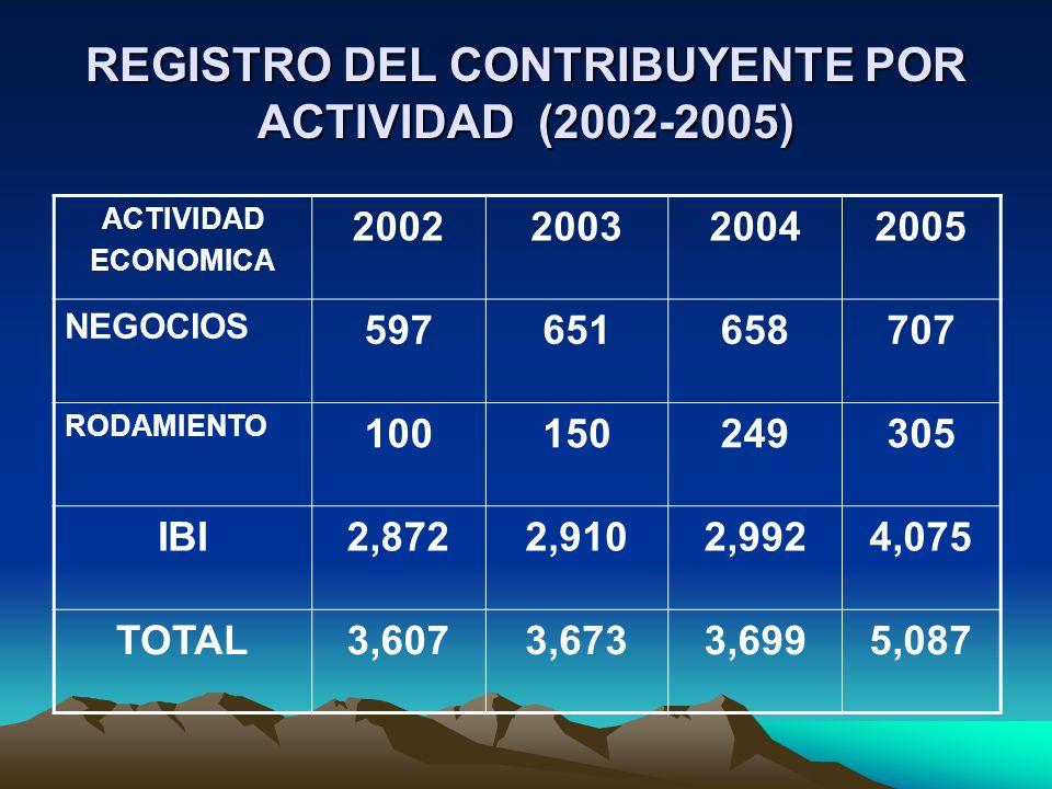 REGISTRO DEL CONTRIBUYENTE POR ACTIVIDAD (2002-2005) ACTIVIDAD ECONOMICA 2002200320042005 NEGOCIOS 597651658707 RODAMIENTO 100150249305 IBI2,8722,9102