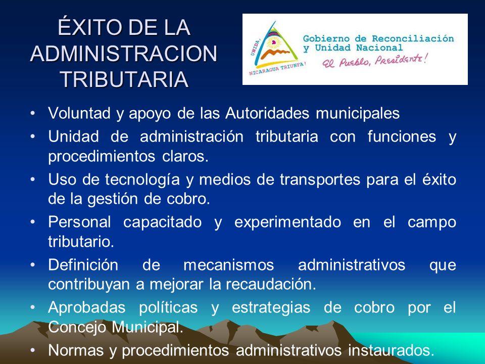 ÉXITO DE LA ADMINISTRACION TRIBUTARIA Voluntad y apoyo de las Autoridades municipales Unidad de administración tributaria con funciones y procedimient