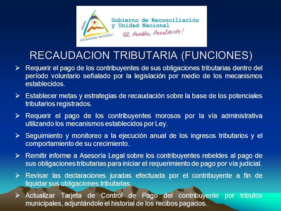 RECAUDACION TRIBUTARIA (FUNCIONES) Requerir el pago de los contribuyentes de sus obligaciones tributarias dentro del período voluntario señalado por l