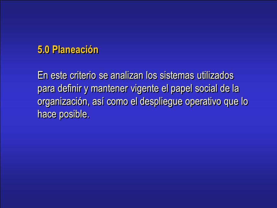 15 5.0 Planeación En este criterio se analizan los sistemas utilizados para definir y mantener vigente el papel social de la organización, así como el despliegue operativo que lo hace posible.