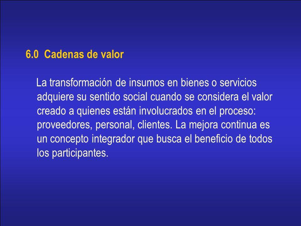 16 6.0 Cadenas de valor La transformación de insumos en bienes o servicios adquiere su sentido social cuando se considera el valor creado a quienes están involucrados en el proceso: proveedores, personal, clientes.