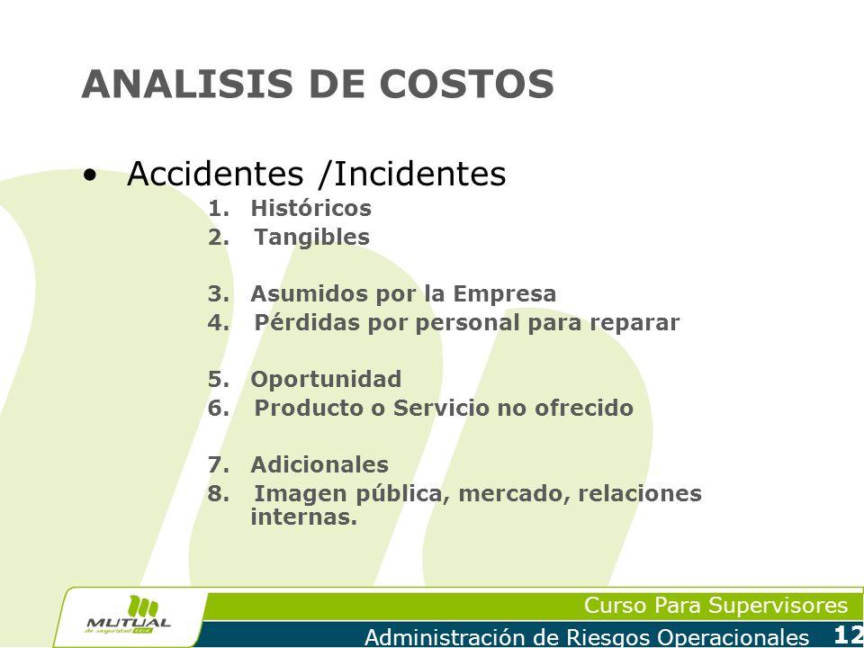 Curso Para Supervisores Administración de Riesgos Operacionales 12 ANALISIS DE COSTOS Accidentes /Incidentes 1.Históricos 2.Tangibles 3.Asumidos por l
