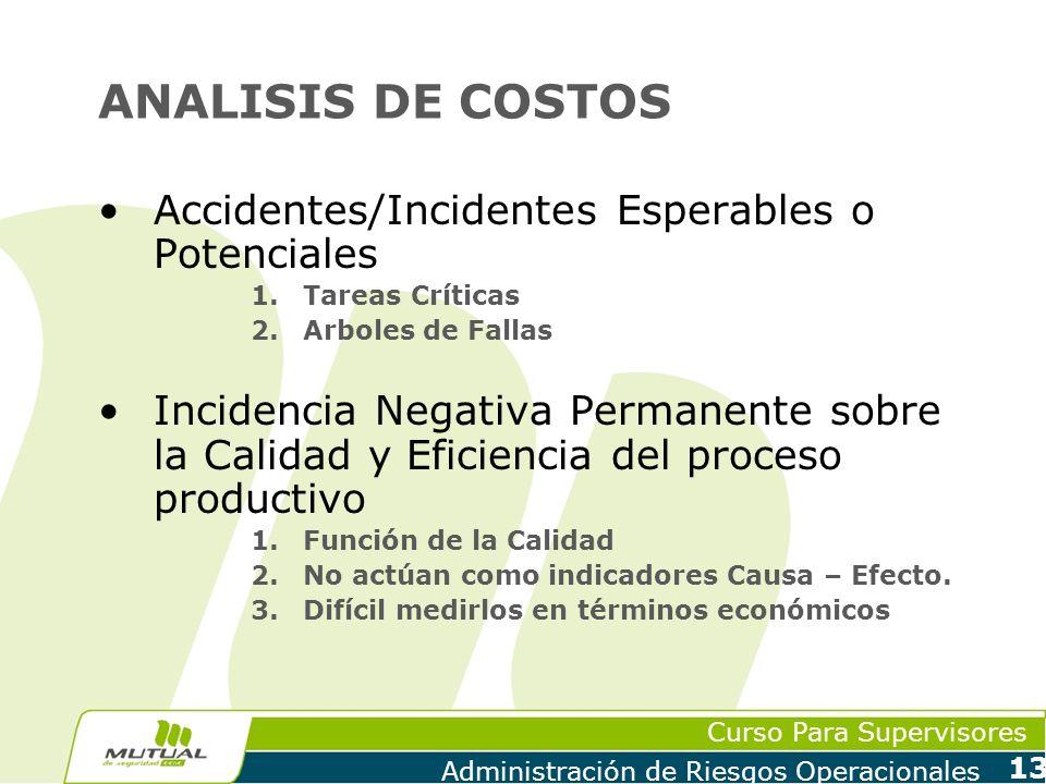Curso Para Supervisores Administración de Riesgos Operacionales 13 ANALISIS DE COSTOS Accidentes/Incidentes Esperables o Potenciales 1.Tareas Críticas