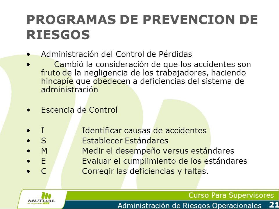 Curso Para Supervisores Administración de Riesgos Operacionales 21 PROGRAMAS DE PREVENCION DE RIESGOS Administración del Control de Pérdidas Cambió la