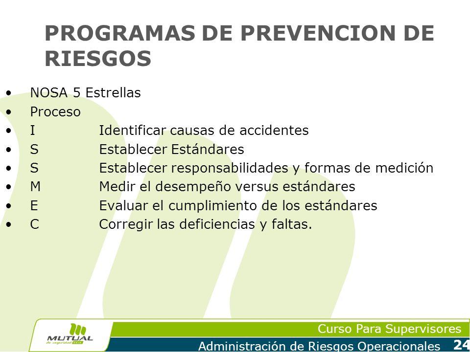 Curso Para Supervisores Administración de Riesgos Operacionales 24 PROGRAMAS DE PREVENCION DE RIESGOS NOSA 5 Estrellas Proceso IIdentificar causas de