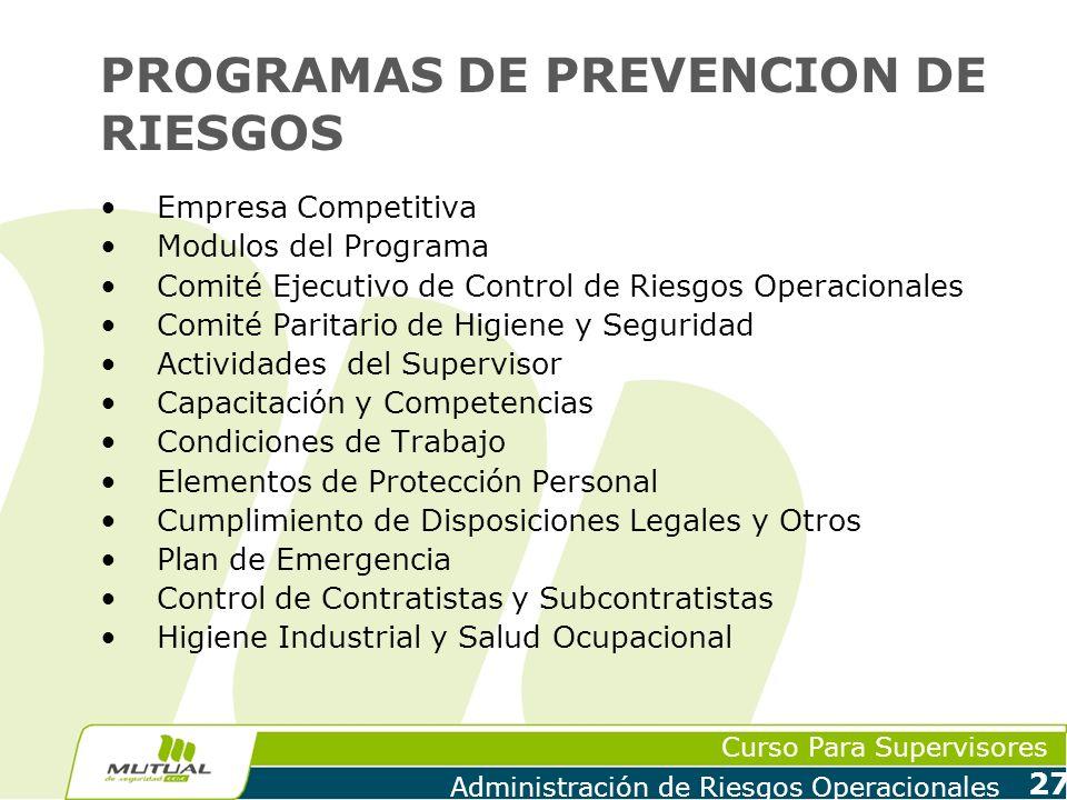 Curso Para Supervisores Administración de Riesgos Operacionales 27 PROGRAMAS DE PREVENCION DE RIESGOS Empresa Competitiva Modulos del Programa Comité
