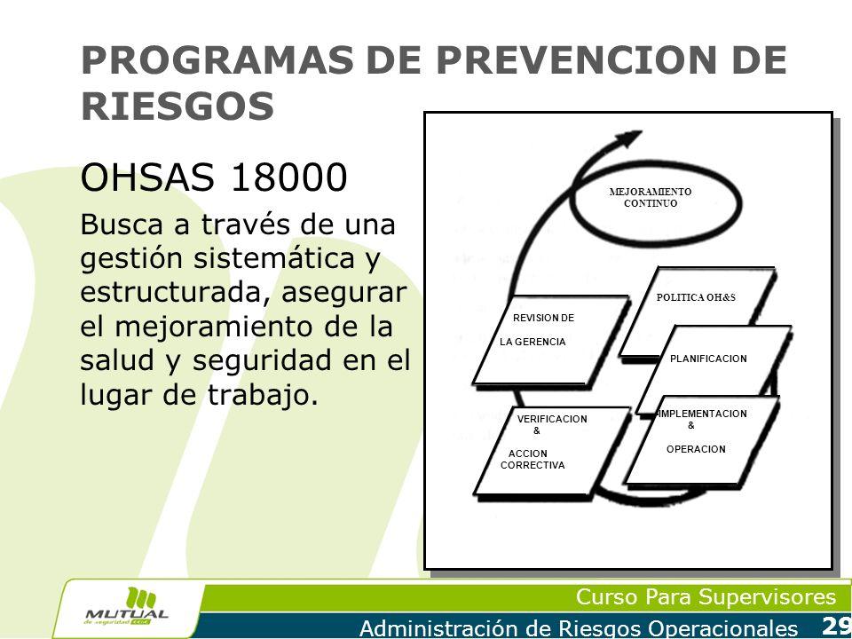 Curso Para Supervisores Administración de Riesgos Operacionales 29 PROGRAMAS DE PREVENCION DE RIESGOS OHSAS 18000 Busca a través de una gestión sistem