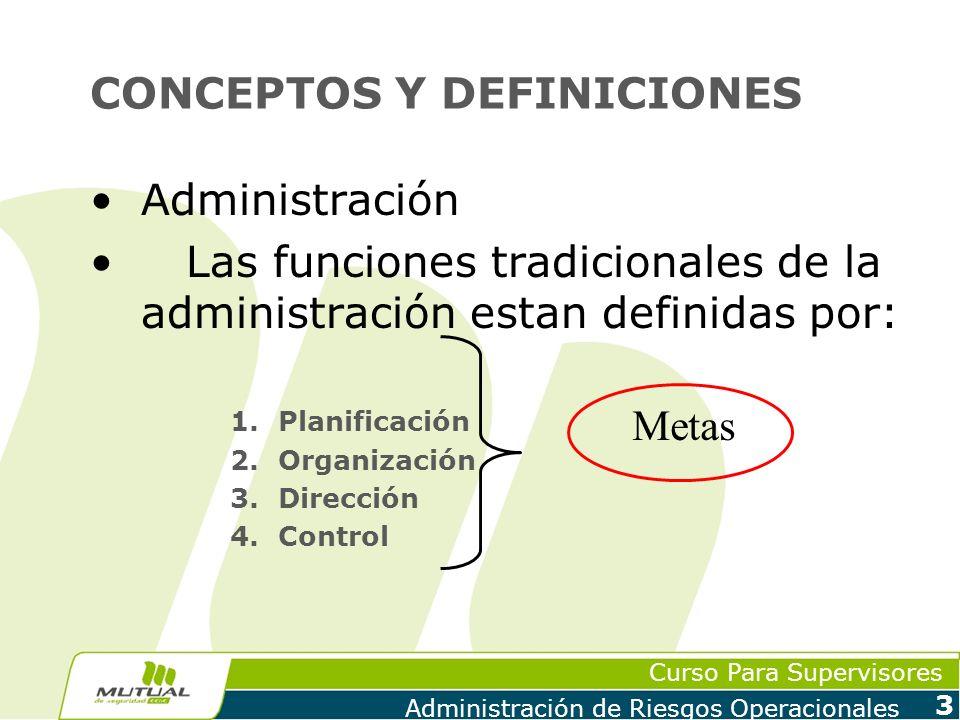 Curso Para Supervisores Administración de Riesgos Operacionales 3 CONCEPTOS Y DEFINICIONES Administración Las funciones tradicionales de la administra