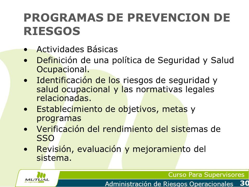Curso Para Supervisores Administración de Riesgos Operacionales 30 PROGRAMAS DE PREVENCION DE RIESGOS Actividades Básicas Definición de una política d