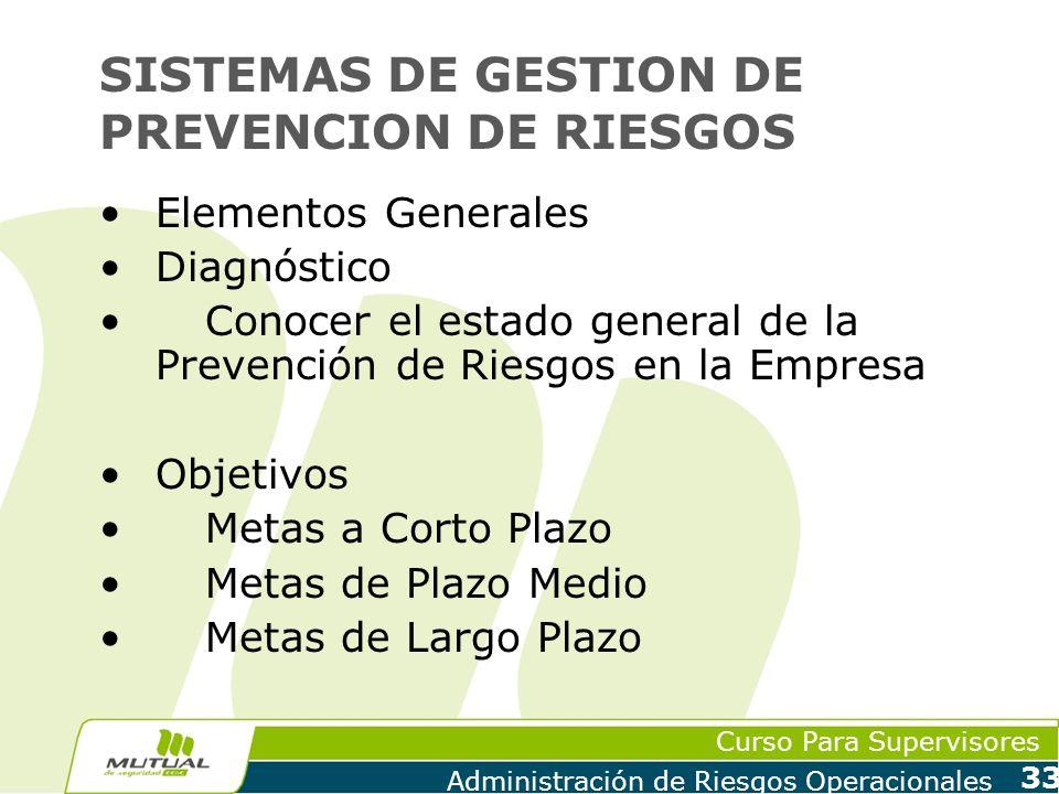 Curso Para Supervisores Administración de Riesgos Operacionales 33 SISTEMAS DE GESTION DE PREVENCION DE RIESGOS Elementos Generales Diagnóstico Conoce