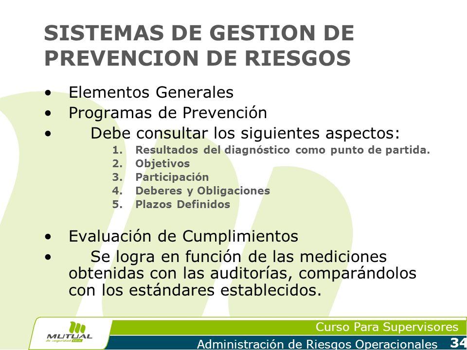 Curso Para Supervisores Administración de Riesgos Operacionales 34 SISTEMAS DE GESTION DE PREVENCION DE RIESGOS Elementos Generales Programas de Preve