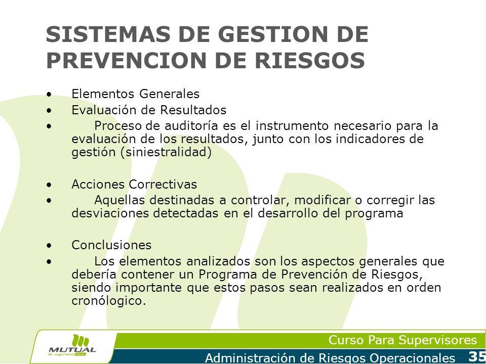 Curso Para Supervisores Administración de Riesgos Operacionales 35 SISTEMAS DE GESTION DE PREVENCION DE RIESGOS Elementos Generales Evaluación de Resu