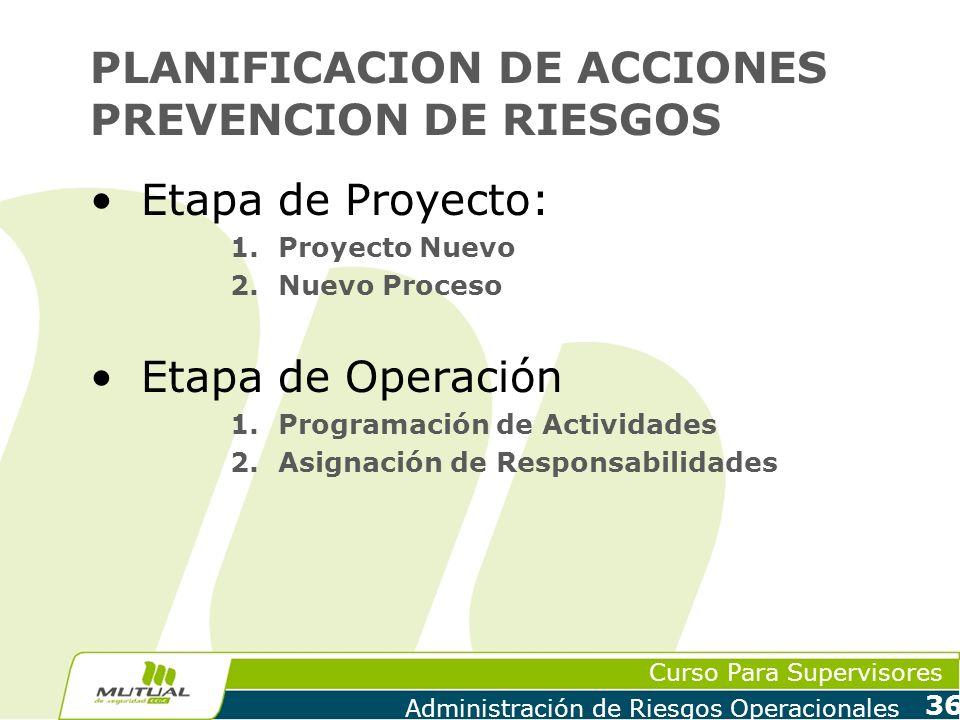 Curso Para Supervisores Administración de Riesgos Operacionales 36 PLANIFICACION DE ACCIONES PREVENCION DE RIESGOS Etapa de Proyecto: 1.Proyecto Nuevo