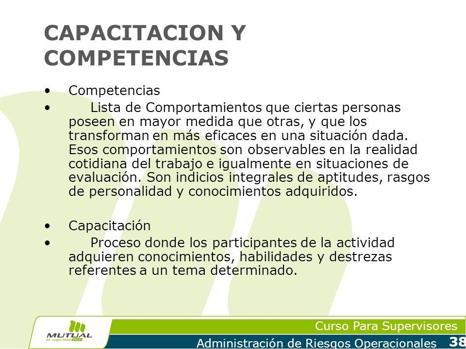 Curso Para Supervisores Administración de Riesgos Operacionales 38 CAPACITACION Y COMPETENCIAS Competencias Lista de Comportamientos que ciertas perso