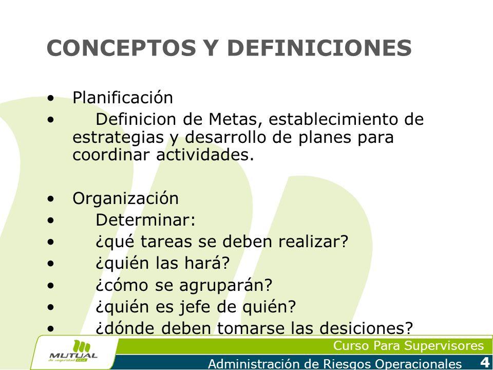 Curso Para Supervisores Administración de Riesgos Operacionales 4 CONCEPTOS Y DEFINICIONES Planificación Definicion de Metas, establecimiento de estra