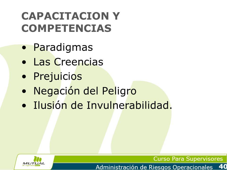 Curso Para Supervisores Administración de Riesgos Operacionales 40 CAPACITACION Y COMPETENCIAS Paradigmas Las Creencias Prejuicios Negación del Peligr