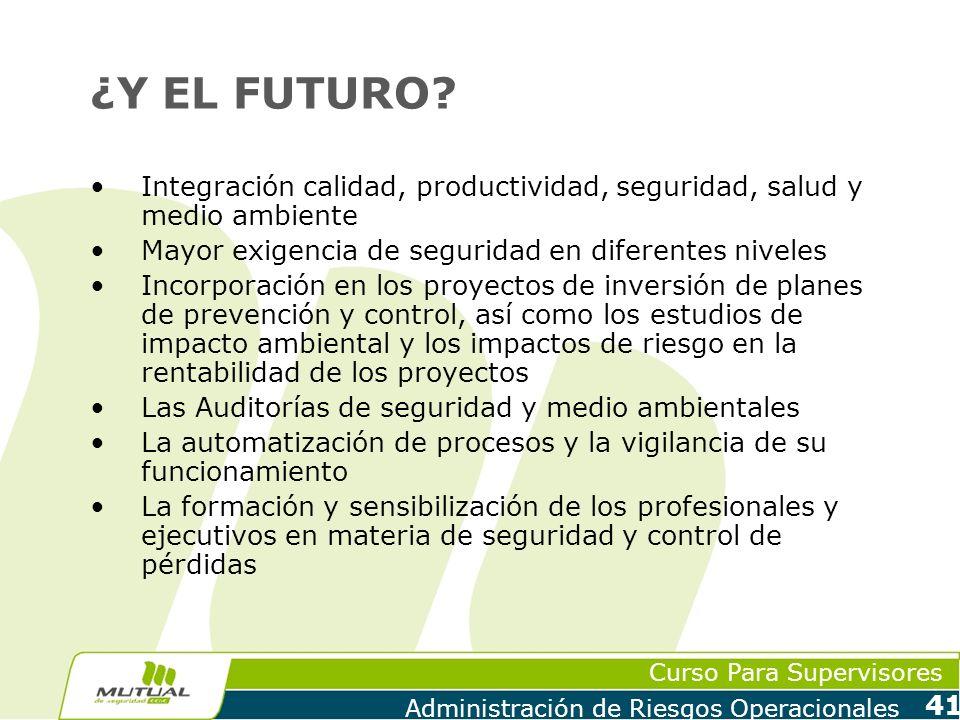 Curso Para Supervisores Administración de Riesgos Operacionales 41 ¿Y EL FUTURO? Integración calidad, productividad, seguridad, salud y medio ambiente