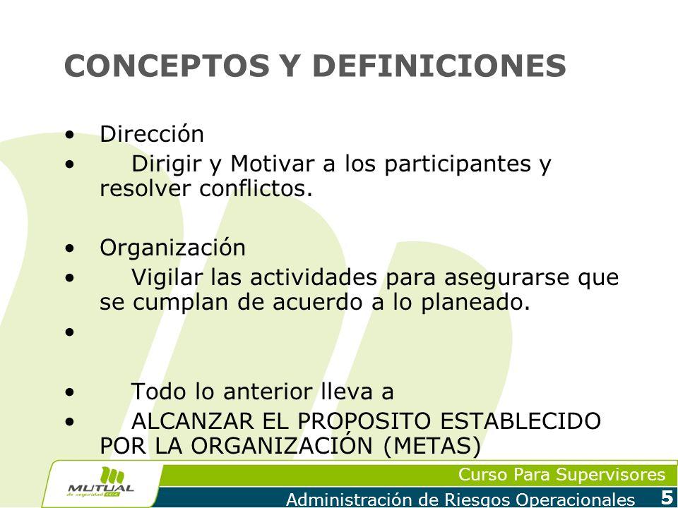Curso Para Supervisores Administración de Riesgos Operacionales 5 CONCEPTOS Y DEFINICIONES Dirección Dirigir y Motivar a los participantes y resolver
