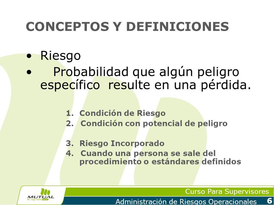 Curso Para Supervisores Administración de Riesgos Operacionales 7 CONCEPTOS Y DEFINICIONES Dificultades para la evaluación económica de la Prevención.