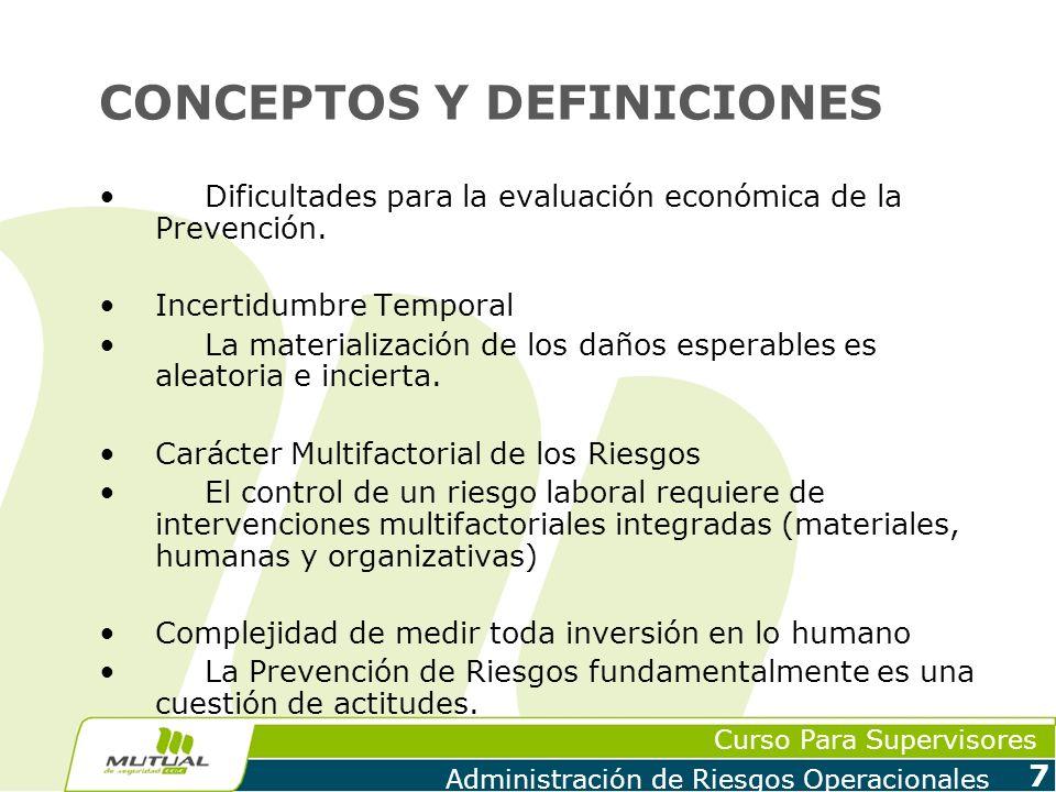 Curso Para Supervisores Administración de Riesgos Operacionales 8 CONCEPTOS Y DEFINICIONES Modelo de Causalidad PRE-CONTACTOPRE-CONTACTOCONTACTOCONTACTOPOST-CONTACTOPOST-CONTACTO