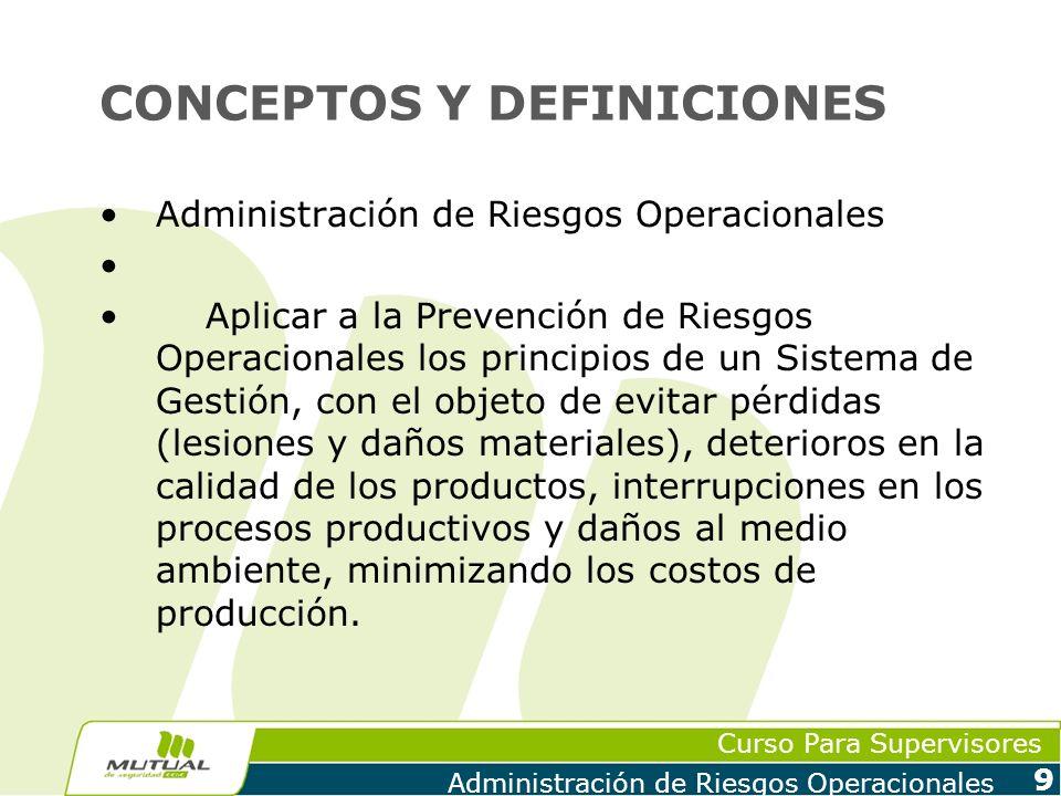 Curso Para Supervisores Administración de Riesgos Operacionales 9 CONCEPTOS Y DEFINICIONES Administración de Riesgos Operacionales Aplicar a la Preven