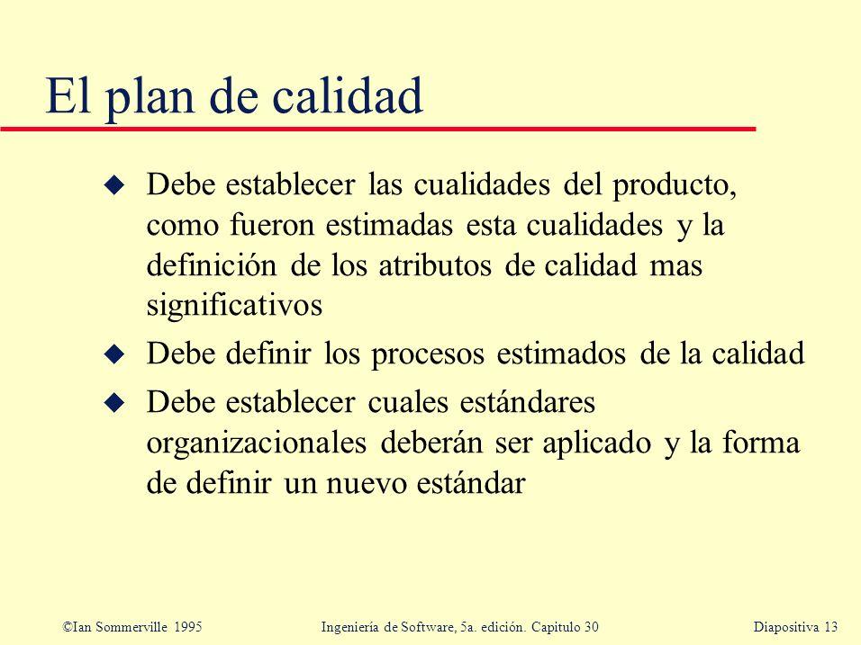 ©Ian Sommerville 1995 Ingeniería de Software, 5a. edición. Capitulo 30Diapositiva 13 El plan de calidad u Debe establecer las cualidades del producto,