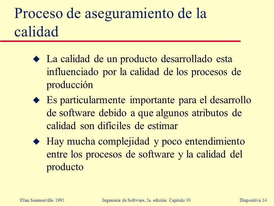 ©Ian Sommerville 1995 Ingeniería de Software, 5a. edición. Capitulo 30Diapositiva 14 u La calidad de un producto desarrollado esta influenciado por la