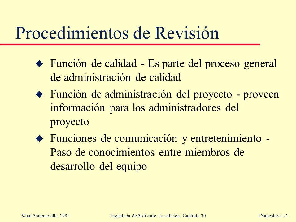 ©Ian Sommerville 1995 Ingeniería de Software, 5a. edición. Capitulo 30Diapositiva 21 Procedimientos de Revisión u Función de calidad - Es parte del pr