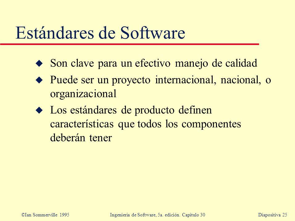 ©Ian Sommerville 1995 Ingeniería de Software, 5a. edición. Capitulo 30Diapositiva 25 u Son clave para un efectivo manejo de calidad u Puede ser un pro