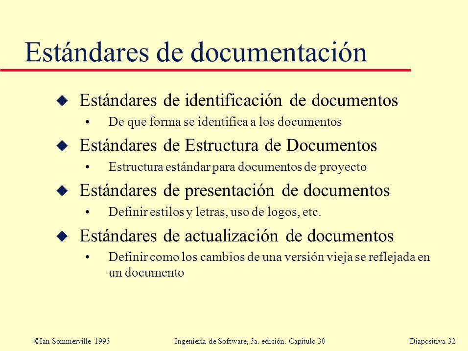 ©Ian Sommerville 1995 Ingeniería de Software, 5a. edición. Capitulo 30Diapositiva 32 Estándares de documentación u Estándares de identificación de doc