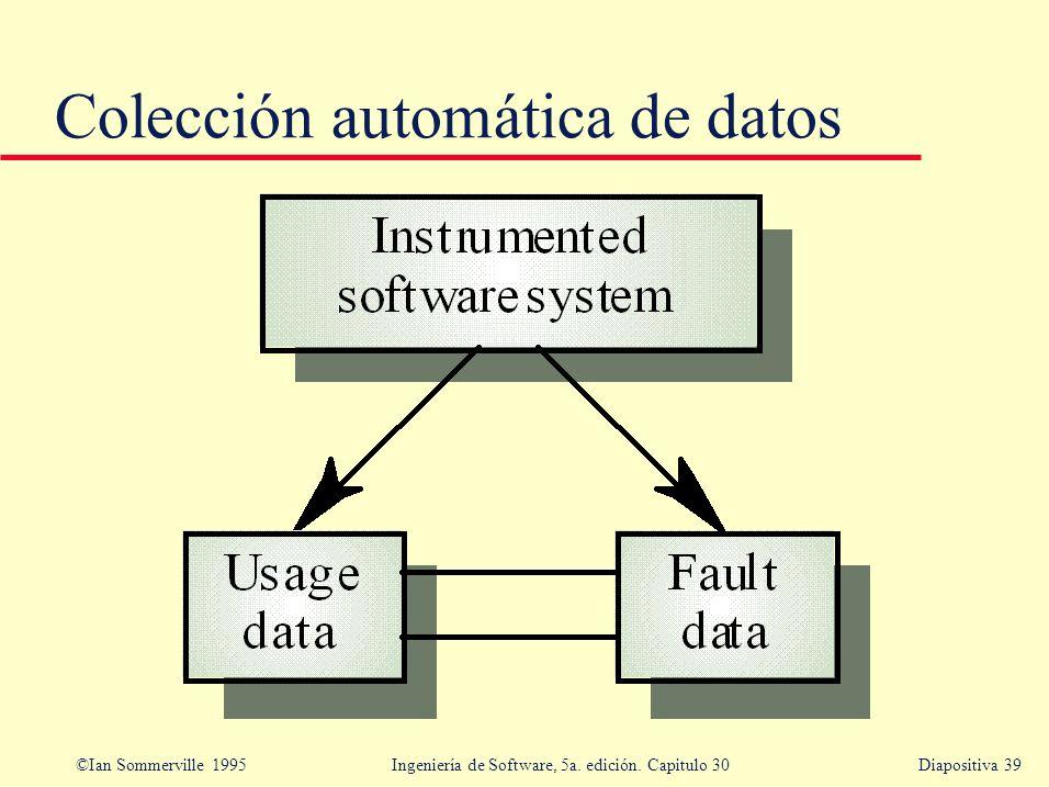 ©Ian Sommerville 1995 Ingeniería de Software, 5a. edición. Capitulo 30Diapositiva 39 Colección automática de datos