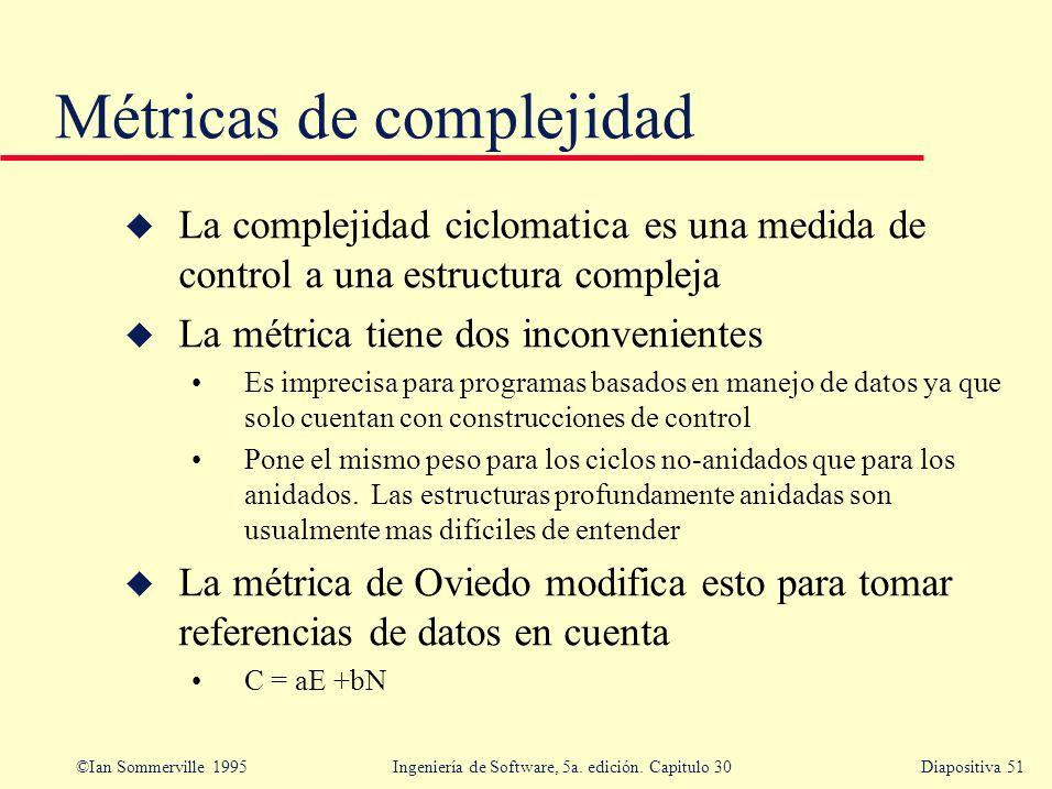 ©Ian Sommerville 1995 Ingeniería de Software, 5a. edición. Capitulo 30Diapositiva 51 u La complejidad ciclomatica es una medida de control a una estru