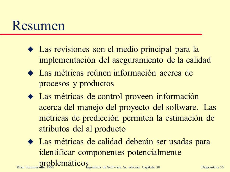 ©Ian Sommerville 1995 Ingeniería de Software, 5a. edición. Capitulo 30Diapositiva 55 Resumen u Las revisiones son el medio principal para la implement