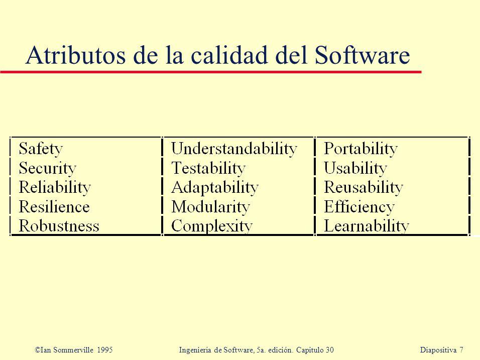 ©Ian Sommerville 1995 Ingeniería de Software, 5a. edición. Capitulo 30Diapositiva 7 Atributos de la calidad del Software