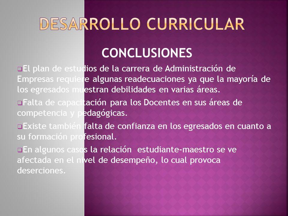 Recomendaciones Reformar el plan de estudio actual en función de la demanda laboral externa, enfatizando las áreas de informática y lenguas extranjeras.