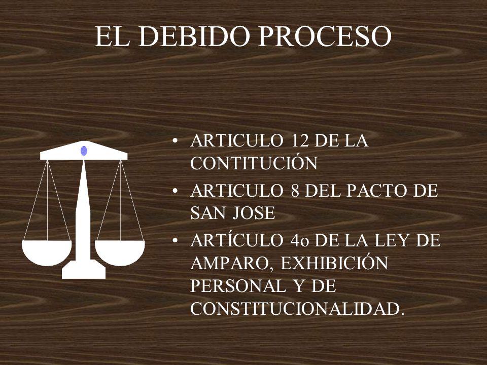 EL DEBIDO PROCESO ARTICULO 12 DE LA CONTITUCIÓN ARTICULO 8 DEL PACTO DE SAN JOSE ARTÍCULO 4o DE LA LEY DE AMPARO, EXHIBICIÓN PERSONAL Y DE CONSTITUCIO