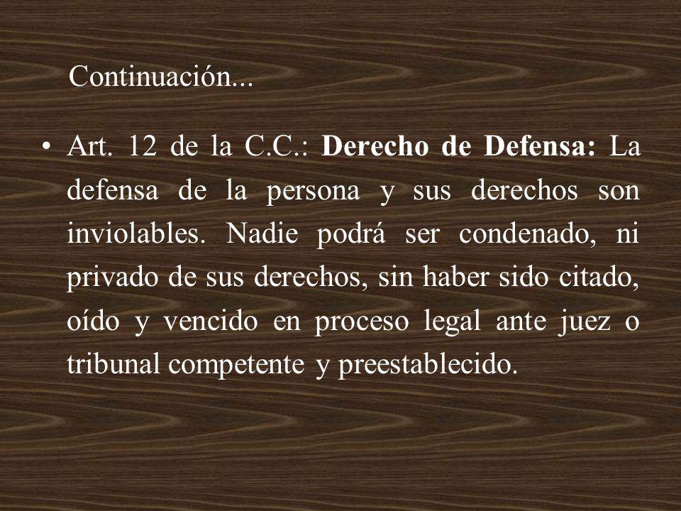 Art. 12 de la C.C.: Derecho de Defensa: La defensa de la persona y sus derechos son inviolables. Nadie podrá ser condenado, ni privado de sus derechos