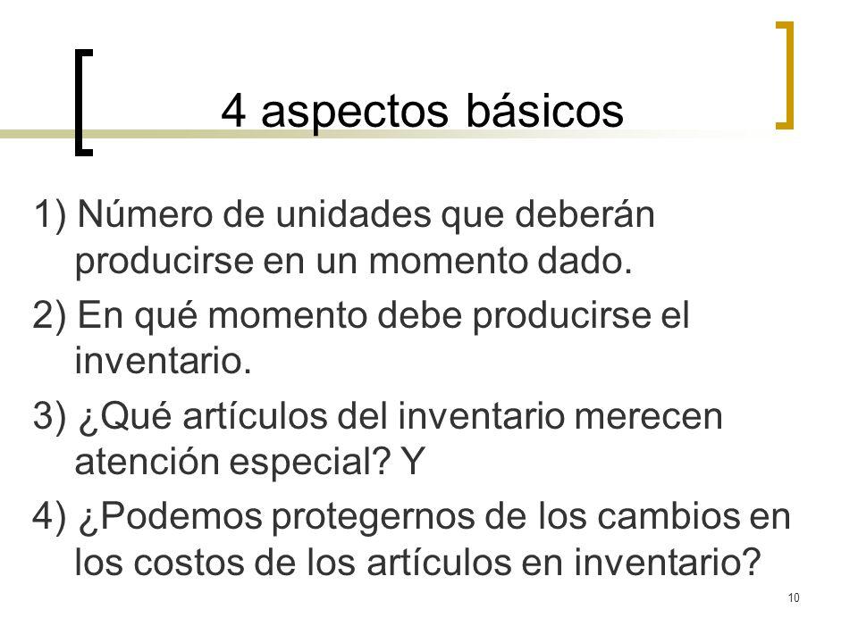 10 4 aspectos básicos 1) Número de unidades que deberán producirse en un momento dado. 2) En qué momento debe producirse el inventario. 3) ¿Qué artícu