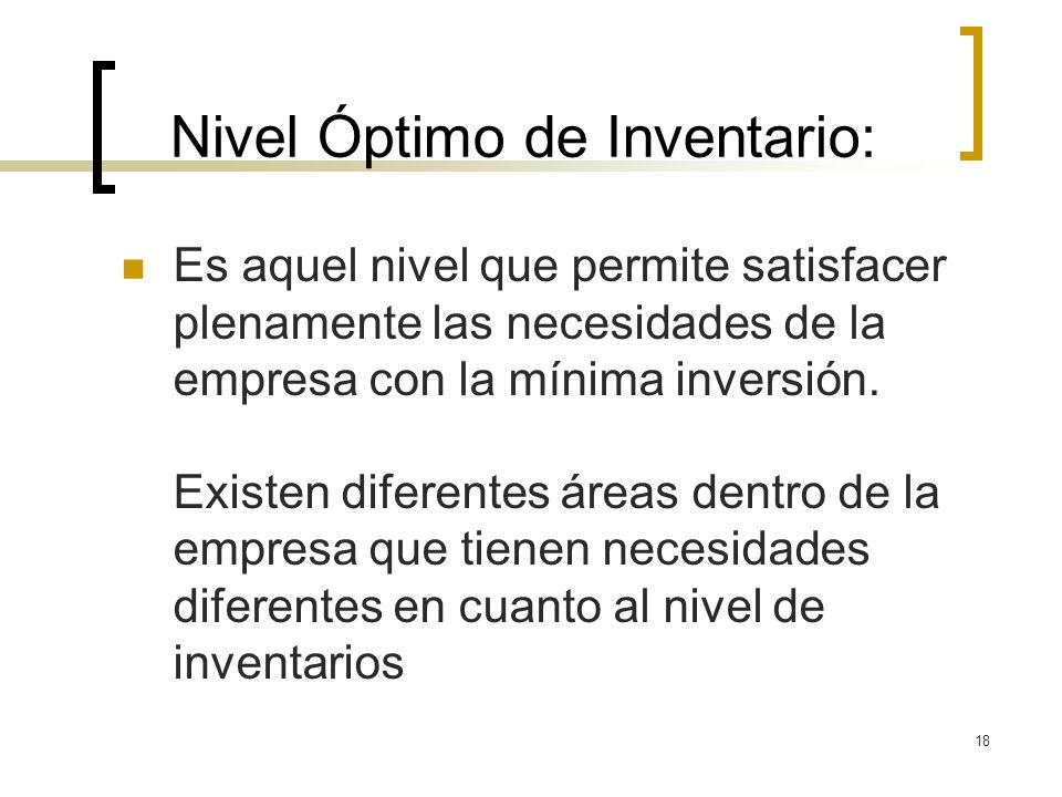 18 Nivel Óptimo de Inventario: Es aquel nivel que permite satisfacer plenamente las necesidades de la empresa con la mínima inversión. Existen diferen
