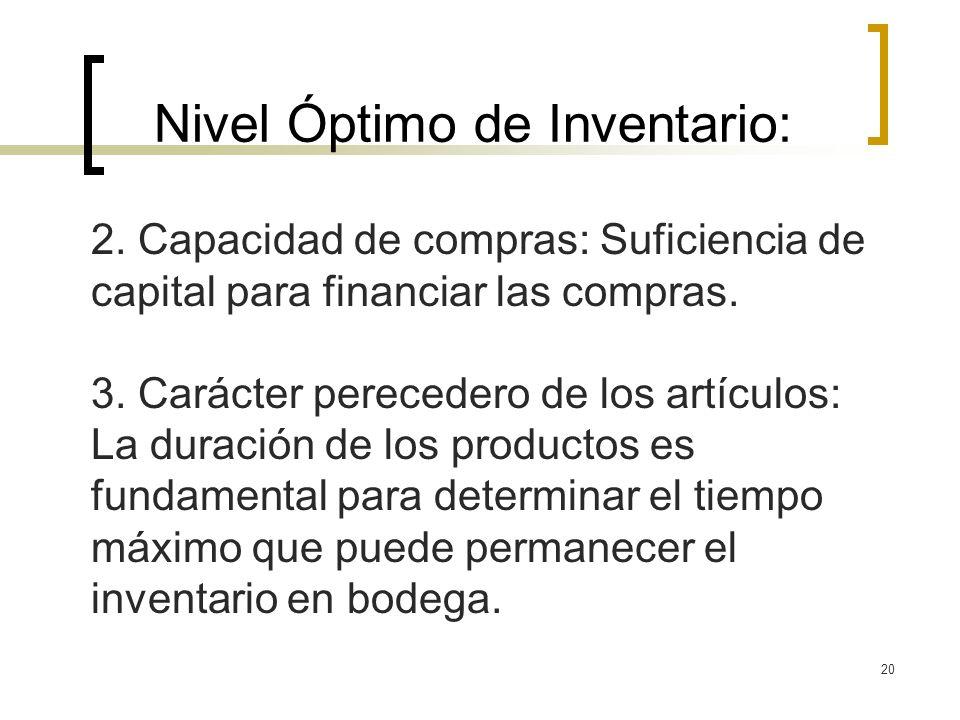 20 Nivel Óptimo de Inventario: 2. Capacidad de compras: Suficiencia de capital para financiar las compras. 3. Carácter perecedero de los artículos: La